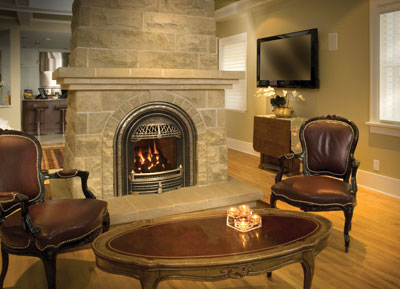 Windsor-Arch-with-Brushed-Nickel,-Coals,-Red-Brick-Liner